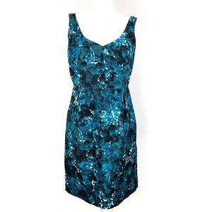 J. Crew Madison Blue Watercolor Floral Silk Dress